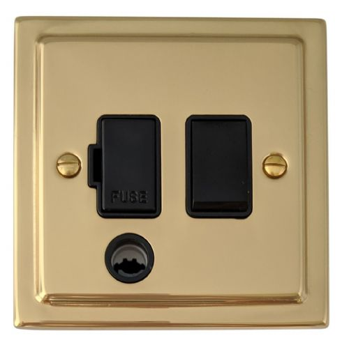 G&H TB56B Trimline Plate Polished Brass 1 Gang Fused Spur 13A Switched & Flex Outlet